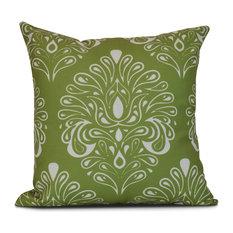 "18x18"", Veranda, Geometric Print Outdoor Pillow, Green"