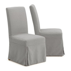 Astrid Slipcover Dining Armless Chair, Gray