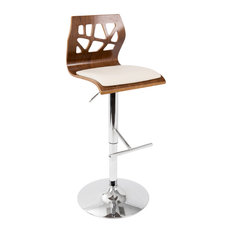 LumiSource Folia Adjustable Height Barstool With Swivel, Walnut/Clear