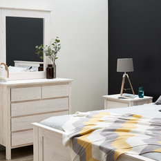Modern Dressing Table With Mirror Build With Solid Timber With White Wash  Finish   Dressing