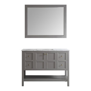 """Florence 48"""" Single Vanity, Gray, With Mirror"""