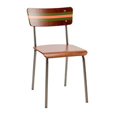 School Contemporary Dining Chair, Olive and Sunset Pink Striped Backrest