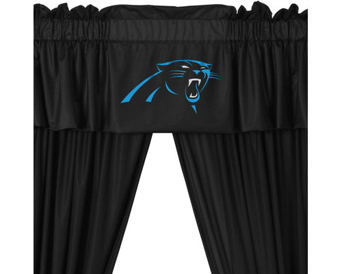 Sports Coverage Inc   NFL Carolina Panthers 5 Piece Curtains And Valance  Set   Curtains