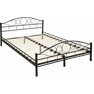 Modern Double Metal Bed Frame With Slatted Design, 6-Leg for Great Support