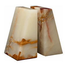 Platanus Collection Black and Gold Marble Bookends, Light Freen Onyx