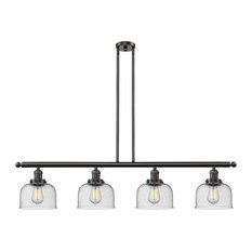 Large Bell 4-Light Island Light, Seedy Glass, Oil Rubbed Bronze