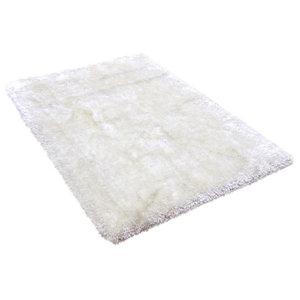 Plush White Rectangular Rug, 160x230 cm