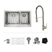 """33"""" Farmhouse Stainless Steel Kitchen Sink, Pull-Down Faucet SS, Dispenser"""