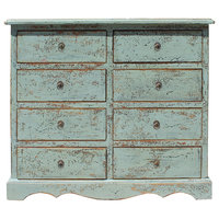 Solid Wood Distressed Crackle Gray 8 Drawers Dresser Cabinet