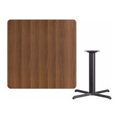 """Offex 42"""" Square Walnut Laminate Table Top With 33""""x33"""" Table Height Base"""