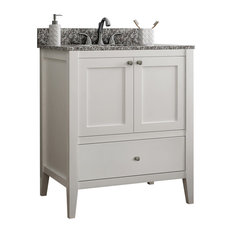 Vanguard Bathroom Vanity With 1 Bottom Drawer, White, 24""