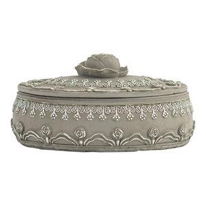 EMDE Pink and Grey Oval Jewellery Box