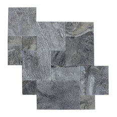 Silver Travertine Tile Antique Pattern Brushed and Chiseled