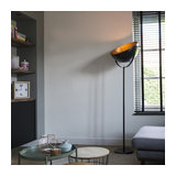 Modern Round Floor Lamp Black and Gold 50cm - Magna