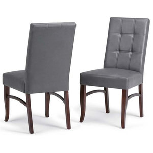 Ezra Faux Leather Parson Dining Chairs Stone Gray Set Of