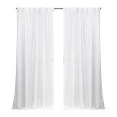 Nicole Miller Trellis Matelasse Hidden Tab Curtain Panel Pair, White, 54x96