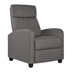 Recliner Chair Overstuffed Sponge With Lumbar Support Grey- Linen Fabri
