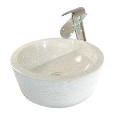 Tikamoon - Vasque blanhe en marbre Exo Stri Cream - Lavabos