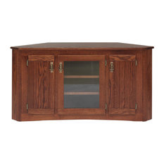 Solid Oak Mission Style Corner Tall Tv Stand With Cabinet Cherry