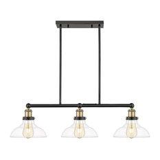 Ove Decors Elgin III 3-Light Adjustable Kitchen Island Linear LED Pendant, Bla