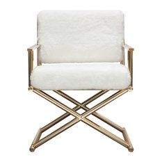 Diva Directors Chair, White Faux Fir With Gold Metal Frame