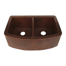 Redondeado Curved 50/50 Split Copper Kitchen Sink