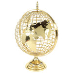 "Brimfield & May - Large Decorative Gold Metal Spinning Globe With Finial Detail - Add some gilded adventure to your space with this high-shine gold metal decorative globe! This topographical designed globe measures 17"" wide x 25"" high and displays gold continents with a lightly hammered metal effect welded to the caged sphere that is securely fastened to its sturdy gold axis and 8"" base. The top features a decorative finial detail surrounding the detachable hardware that allows the globe to smoothly and freely spin as you push it. The base is flat with a felt finish underneath to avoid scuffing, holding the globe in place without sliding. Due to the handcrafted nature of this globe, the north pole and Antarctica are not included so that the top and bottom hardware could be secured."