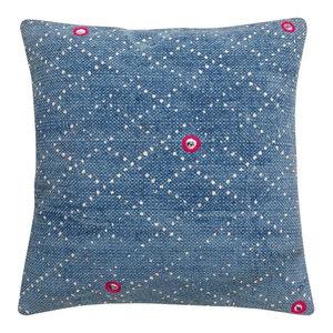 Indigo Batik Cushion, Lattice, Cover Only