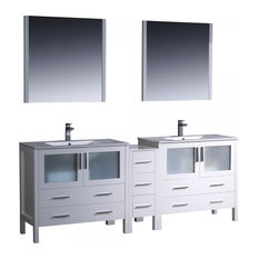 "Fresca Torino 84"" White Double Sink Bathroom Vanity"