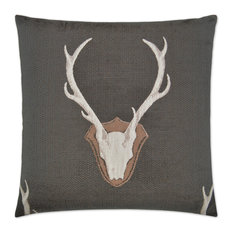 Uncle Buck Grey Feather Down Decorative Throw Pillow, 24x24