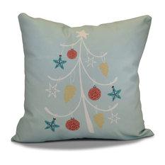"Decorative Outdoor Holiday Pillow Geometric Print, Aqua, 18""x18"""