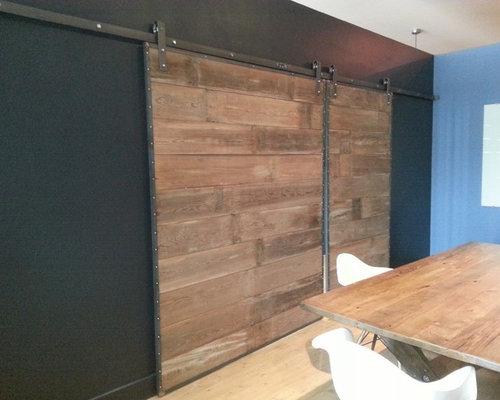 barn wood sliding doors in steel frame
