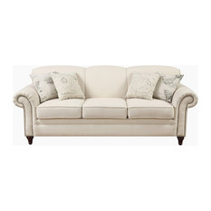 Coaster Fine Furniture   Traditional Cream Oatmeal Linen Fabric Sofa With Nail  Head Trim Accent Pillows