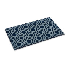 """Ogee Design Natural coco doormat with vinyl backing in Lapis Blue Color, 18"""" X 3"""