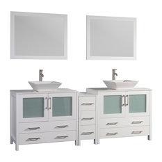 """Vanity Art Vanity Set With Vessel Sink, White, 84"""", Standard Mirror"""