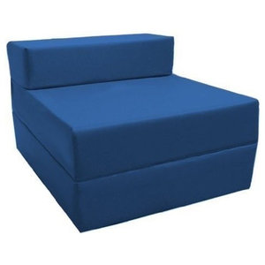 Fold Out Z-Design Bed Chair, Blue Upholstery With Removable Waterproof Cover