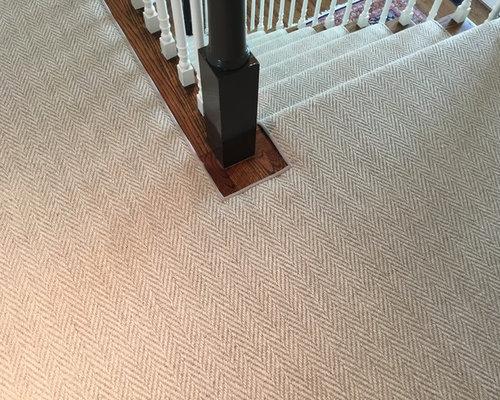 Custom Herringbone Houndstooth Flat Weave Wool Carpet