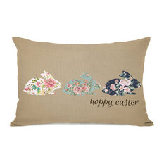 """Hoppy Easter Floral Bunnies"" Indoor Throw Pillow by OneBellaCasa, 14""x20"""