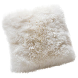 Large New Zealand Sheepskin Cushion, Natural White