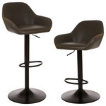Glitzhome - Vintage Gray Leatherette Gaslift Adjustable Swivel Bar Stool, Set of 2 - Bring the sophisticated look of leather seating to your dining space or cooking area. The handmade faux leather is soft to the touch while its curved design provides comfort. Supported with pneumatic adjustable legs for an ergonamics and high quality design.