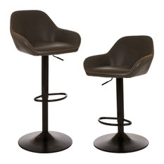 Vintage Gray Leatherette Gaslift Adjustable Swivel Bar Stool, Set of 2