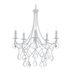 50 most popular crystal chandeliers for 2018 houzz 5 light white wrought iron crystal chandelier country french chandeliers aloadofball Image collections