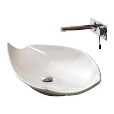 Oval-Shaped White Ceramic Vessel Sink, No Hole
