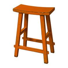 Elm Wood Zen Style Bar Stool, Orange