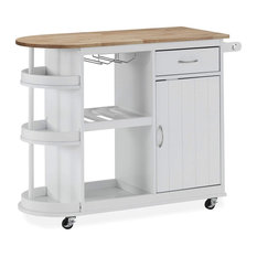 Kitchen Serving Cart Great Storage Space With Towel And Glass Holder White
