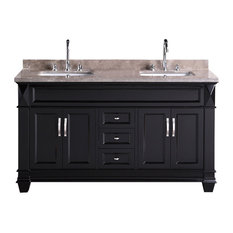 """Hudson 60""""Double Sink Vanity Set, Espresso With Crema Marfil Marble Countertop"""
