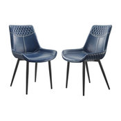 Linon Mabry Metal Dining Chairs Set of Two in Blue