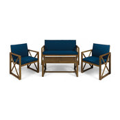 GDF Studio 4-Piece Penny Outdoor Acacia Wood Chat Set With Cushions