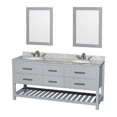"Natalie 72"" Gray Double Vanity, 24"" Mirrors, Round, White Carrera Marble"