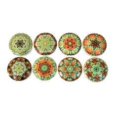 8 Piece Set Green Posie Mandala Print Cabinet Knobs